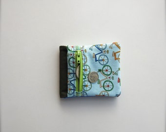 Wallet with zippered coin section -bicycle design- fabric wallet - billfold wallet with zippered section - children's wallet - soft wallet