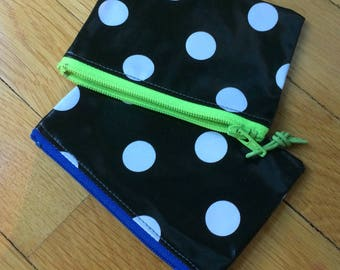 polka dot OIL cloth coin purse, gift card cover, many zipper color options