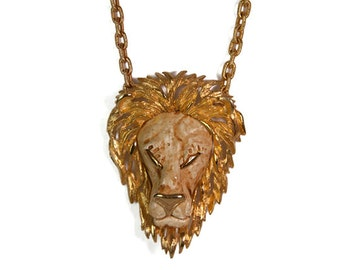 1970s Massive Luca Razzo Zodiac Series Leo the Lion Vintage Statement Pendant Necklace