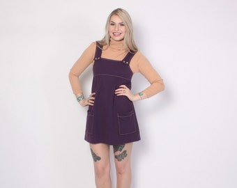 Vintage 60s PINAFORE Dress / 1960s Plum Purple Knit Overalls Suspender Mini Dress