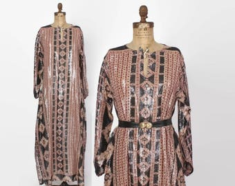 Vintage 70s CAFTAN DRESS / 1970s Metallic Semi Sheer Indian India Gauze Loose Fit Maxi Dress