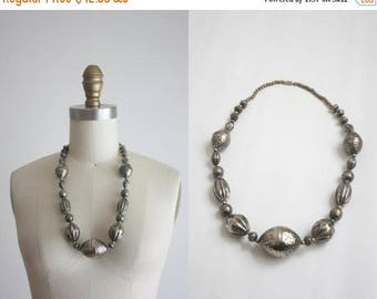 25% SALE 1970s pewter bead necklace