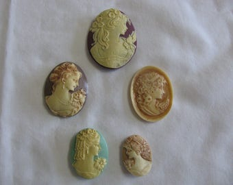 5 Hand Painted Resin Cameos Lot # 7