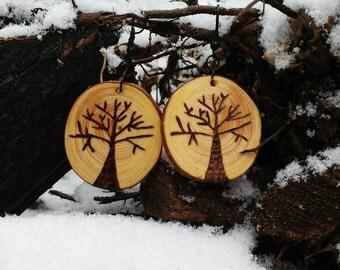 Wood Burned Tree Slice Earrings-Tree Earrings-Pine Wood Earrings