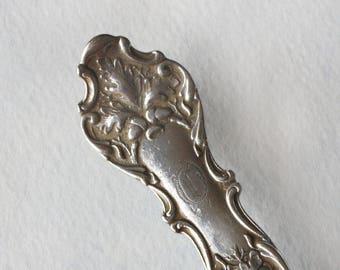 Spoon Keychain Silverware Key Chain Spoon Key Ring Vintage Silver Plate Charter Oak with O Monogram