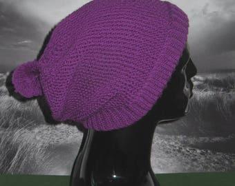 50% OFF SALE Instant Digital File PDF Download Knitting Pattern-Rib Cuff Moss Stitch Bobble Slouch Hat knitting pattern by madmonkeyknits