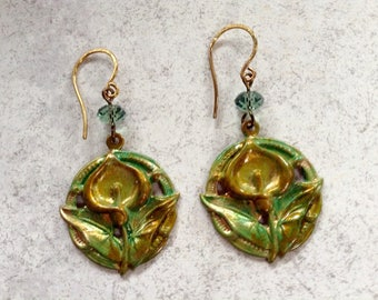 Dangles Patina Brass Calla Lily And Crystal Earrings