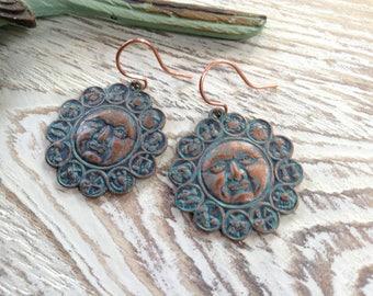 Patina Celestial Zodiac Copper Earrings