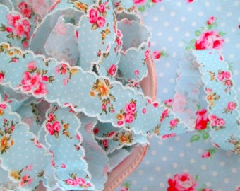 Vintage Style Sky Blue Floral Scalloped Edge Ribbon - 1 inch - 1 Yard