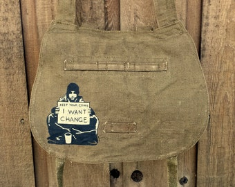 Banksy I want Cange - Linen Hemp Czech Vintage Military Messenger Bag - Hand Painted