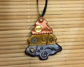 Polymer  Clay Steampunk Christmas Tree Ornament - Industrial Holiday Decor