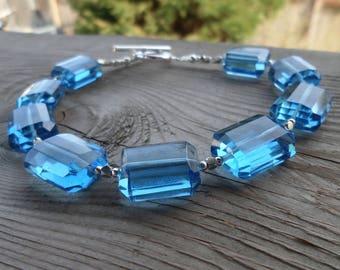 Blue Topaz Quartz Sterling Silver Gemstone Large Bracelet