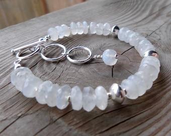 High Quality Moonstone and Sterling Silver Gemstone Birthstone Bracelet