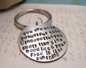 Bridesmaids Keychain. You are More Beautiful Than Cinderella. Bridesmaids Gift. Wedding. Bridal