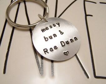 Messy Bun and Rae Dunn Keychain. Rae Dunn. Messy Hair. Yoga Pants. Caffeine. Homegoods. Rae Dunn Collectors. Rae Addict