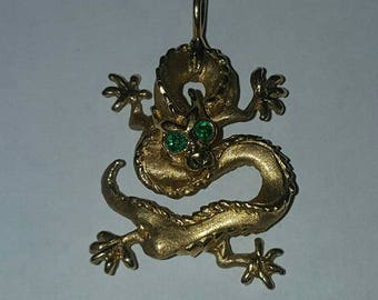 Malcolm Appleby 18k Yellow Gold Emerald Dragon Pendant ~ Signed and Numbered ~ 3/100 ~ 1985