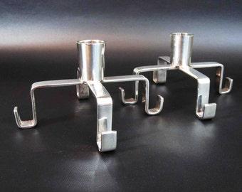 Vintage Mid Century Modern Candlesticks in Silverplate. Circa 1960's.