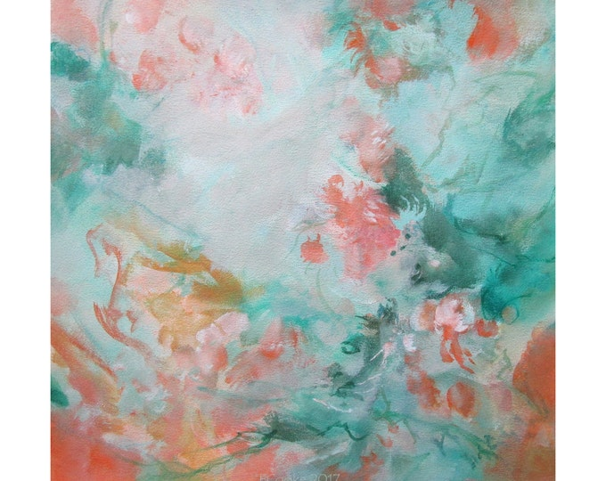 Abstract Modern Expression Art Original Contemporary Painting greenery orange Musing 158