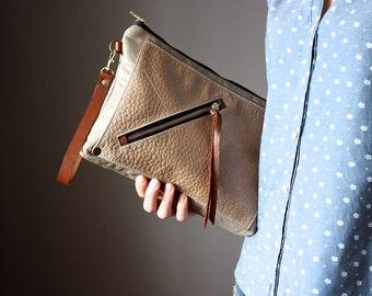 Multi pocket leather clutch, leather purse, beige leather clutch, zipper clutch / purse, wrist strap