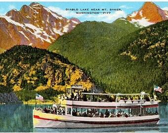 Vintage Washington State Postcard - Diablo Lake, near Mount Baker (Unused)