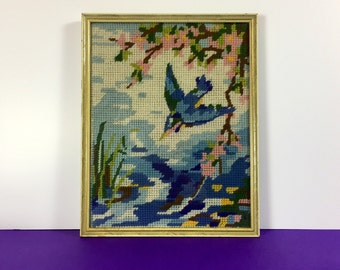 1950s Kingfisher Needlepoint - Framed Needlepoint - Vintage Stitching - Vintage Wall Art - Framed By Boots - Kingfisher