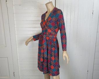 60s / 70s Swing Dress in Rainbow Argyle- 1960s Mod Shift Dress- Carnival- Empire Waist
