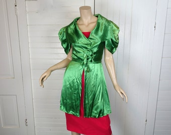 30s / 40s Green Satin Jacket- 1940s Dance Costume- Puffy Sleeves- Extra Small- Hollywood Starlet