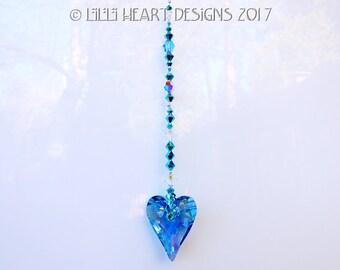 m/w Swarovski Crystal Limited Edition EXTREMELY RARE 37mm Aurora Borealis Aquamarine Wild Heart Suncatcher Car Charm  Lilli Heart Designs