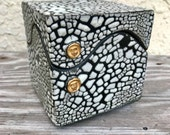 Handmade White Crackle Porcelain Square Box with Gold Accents