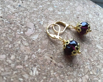 "Dangle glass drop earrings ""Purple Reign"" ONE-OF-A-KIND"