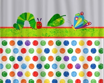 Hungry Caterpillar Theme Custom Shower Curtain, Novelty Shower Curtain, Your names or none - shown in 3 options