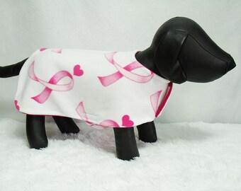 B2G1F Fleece Dog Jacket, Breast Cancer Awareness pink ribbon print dog coat for large dogs, c4
