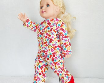 """18 inch Doll's Flannel Pajamas set with fuzzy fur slippers, 18"""" doll pj's and boot slippers. butterfly doll pajamas, butterflies doll pjs"""