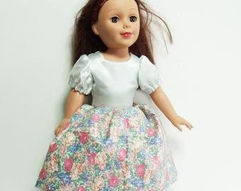 "18 inch Doll Dress, Pale Green Satin & Floral Print cotton doll's dress, puff sleeve doll dress, 18"" fashion dolls long gathered dress"