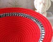 Red, Black and White Handmade Coiled Fabric Basket - Catchall,  Handmade by Me