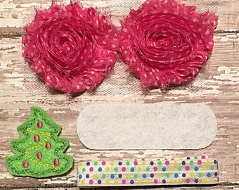 DIY Headband Kit- Pink Christmas Headband Kit- Makes 1 headband, Do it Yourself- Feltie Headband- Baby Headband Kit- DIY Supplies
