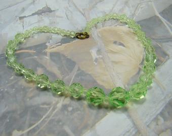 Vintage Green Plastic Bead Necklace Classic 1950's Design Vintage Green Beauty PLUS a Bonus :)