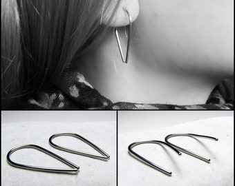 Drop hoop earrings Drop Arc earrings Arc drop Stainless steel hoop earrings drop hoops Horseshoe drop earrings Steel bar Women gift For her