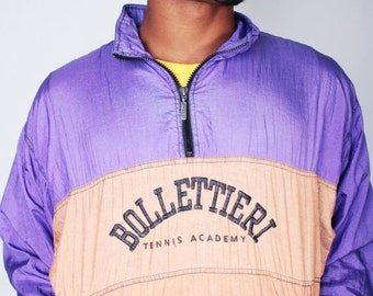 SALE Vintage 80s Purple and Tan BOLLETTIERI Tennis Academy Zip Up Windbreaker by ADIDAS // Mens Vintage Jacket (sz S/M)