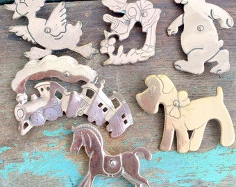 Vintage Lot of 6 Story Book Nursury Rhyme Animal Figure Brooches Copper Animals