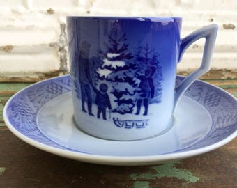 Vintage Danish Modern Royal Copenhagen Blue Christmas Tree teacup and saucer