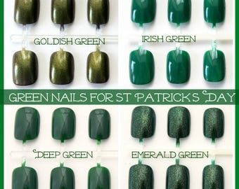 St Patrick's Day Green Nails, Short Fake Nails for St Patty's Day, Choose Your Color Green  Nails, Petite Active XS Green Glitter Nails