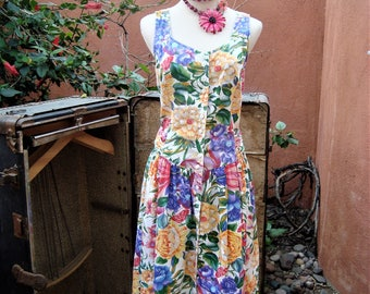 Floral Garden Summer Dress Vintage 1980s Trellis Back by LaLingerie Size M