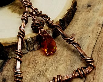 Siam Swarovski Crystal Triangle Necklace Copper Wire Wrapped Oxidized Metal Hammered metal Ruby Red