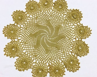 Crocheted Doily Large Ecru Colored Doily, 12 inch Hand Crocheted Swirled Pattern with 13 Dimensional Roses