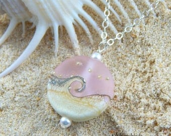 Christmas Sale Ocean Wave Necklace - Pink Lampwork Pendant Necklace Sterling Silver Chain
