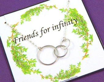 Christmas Sale Friendship Necklace, Triple Ring Necklace, Best Friends Necklace, Sisters Necklace, Sterling Silver, Gift Pouched necklace