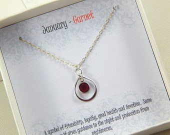 Mothers Day Sale January Birthstone Necklace, Personalized infinity necklace, Garnet, birthstone jewelry, gift boxed necklace