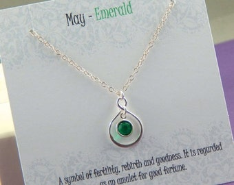 Mothers Day Sale May Birthstone Necklace, Personalized infinity necklace, emerald, birthstone jewelry, gift boxed necklace