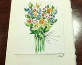 "Flower Bouquet Watercolor Original Strathmore Card 5"""" x 6 7/8"" & Envelope  Card Blank On The Inside betrueoriginals"
